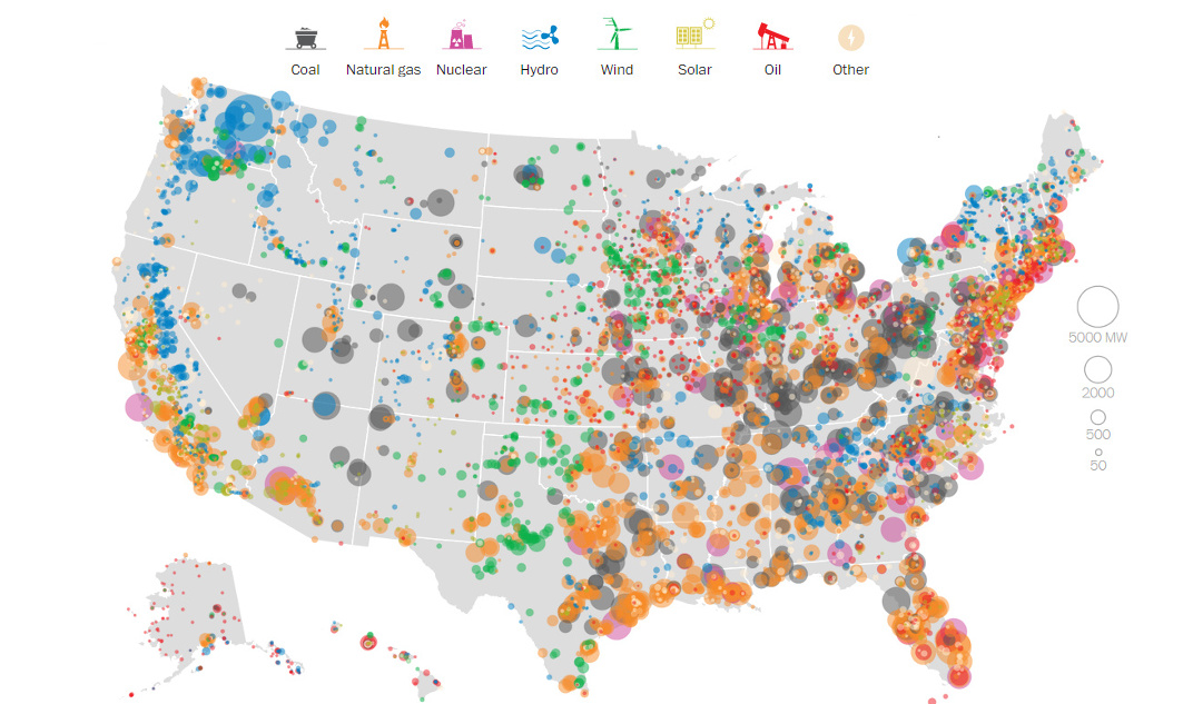 United States Map Showing States.Mapping Every Power Plant In The United States Visual Capitalist