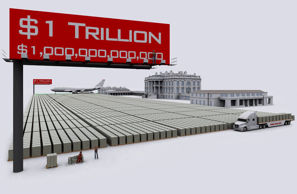 $1 trillion visualized in $100 bills