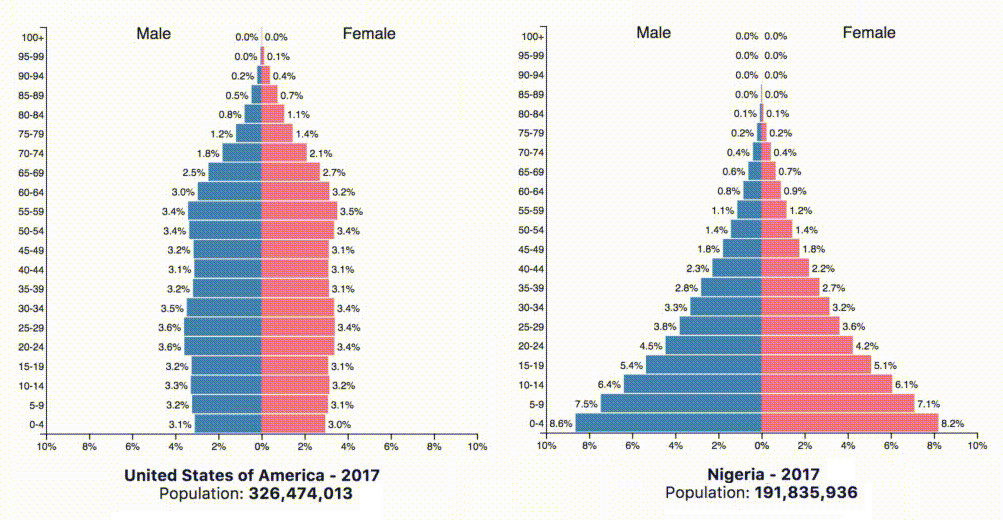 Animation Population Pyramids Of The 10 Most Populous Countries