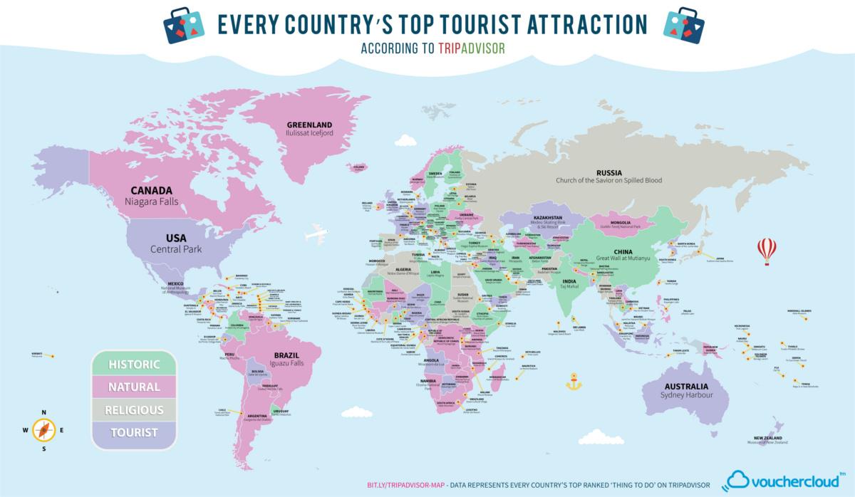 Map: The Top Tourist Attraction in Every Country