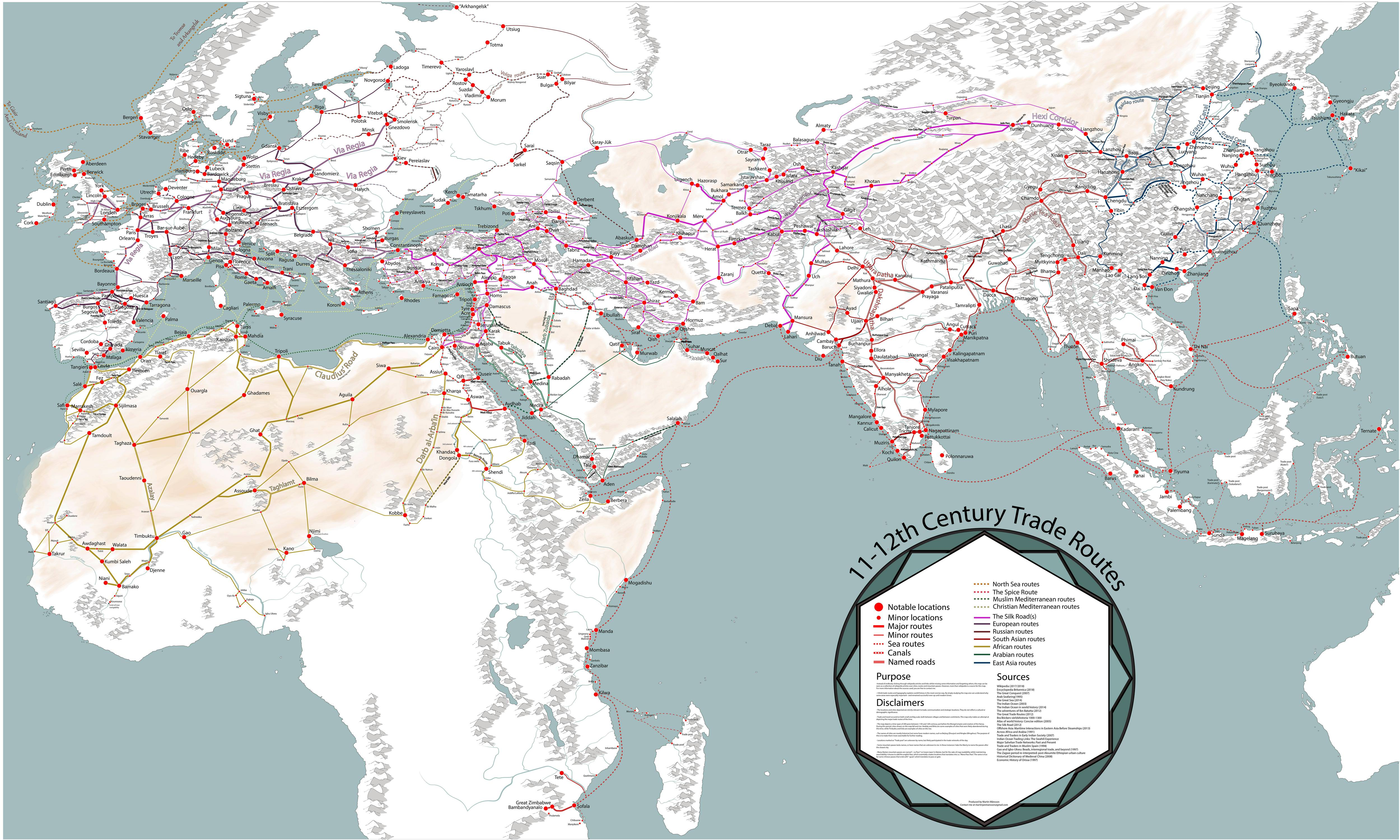 A Fascinating Map Of Medieval Trade Routes
