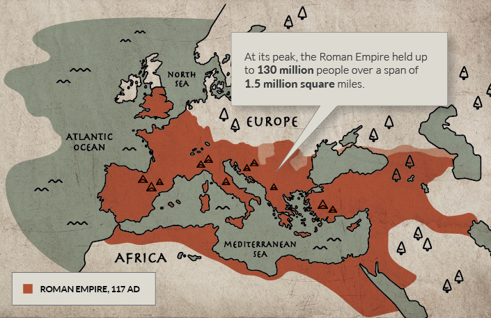 Extent of the Roman Empire on European Map