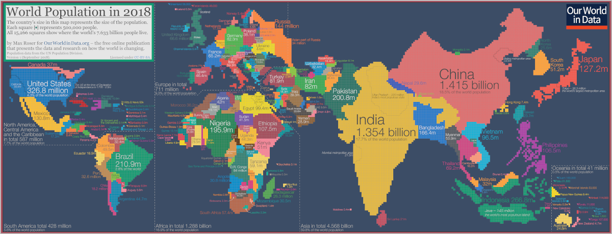 This Fascinating World Map was Drawn Based on Country Populations