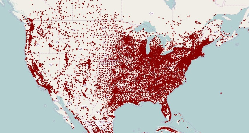 Population Density Map Us Mapped: Population Density With a Dot For Each Town