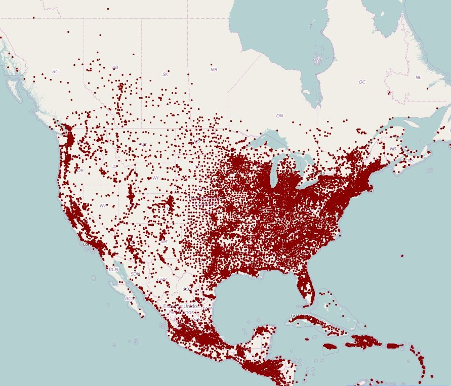 Map Of Us Population Density Mapped: Population Density With a Dot For Each Town