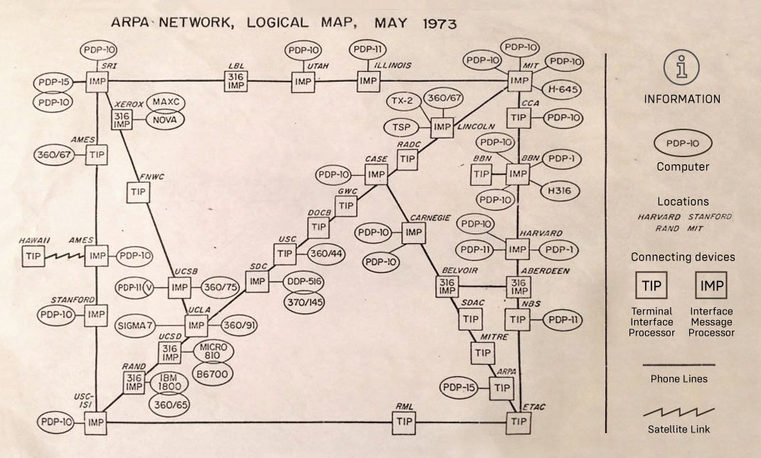 This Paper Map Shows the Extent of the Entire Internet in 1973