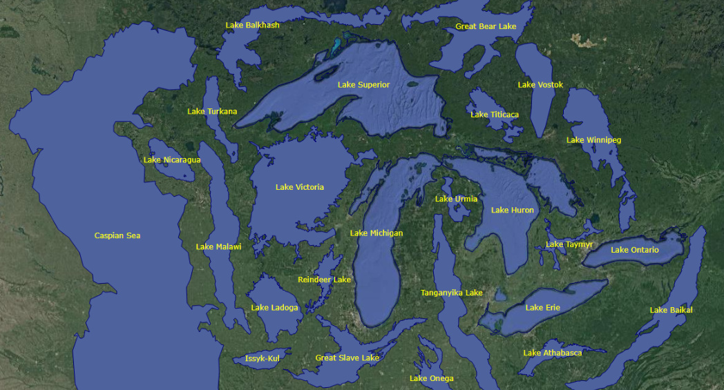 Infographic: The World's 25 Largest Lakes, Side by Side
