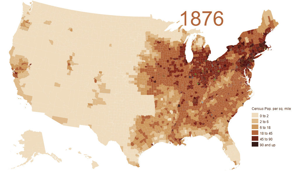 Map Of Us Population Density Animated Map: Visualizing 200 Years of U.S. Population Density