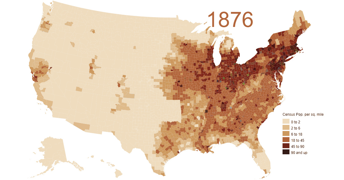 Population Density Map Us Animated Map: Visualizing 200 Years of U.S. Population Density