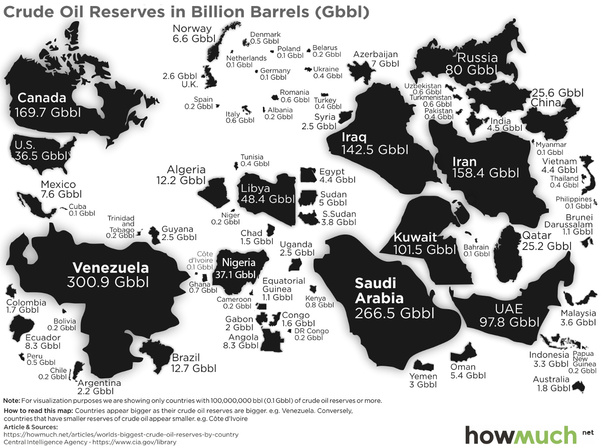 Map: The Countries With the Most Oil Reserves