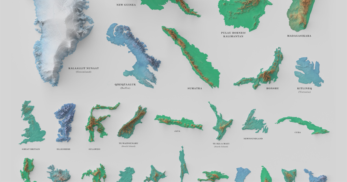 Image of: Infographic Visualizing The World S 100 Biggest Islands