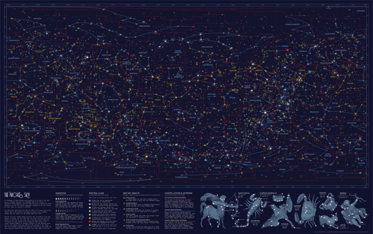 Visible Stars in the Night Sky Map