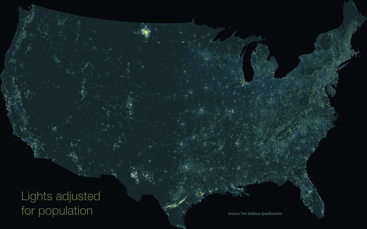 Rural light pollution map of United States