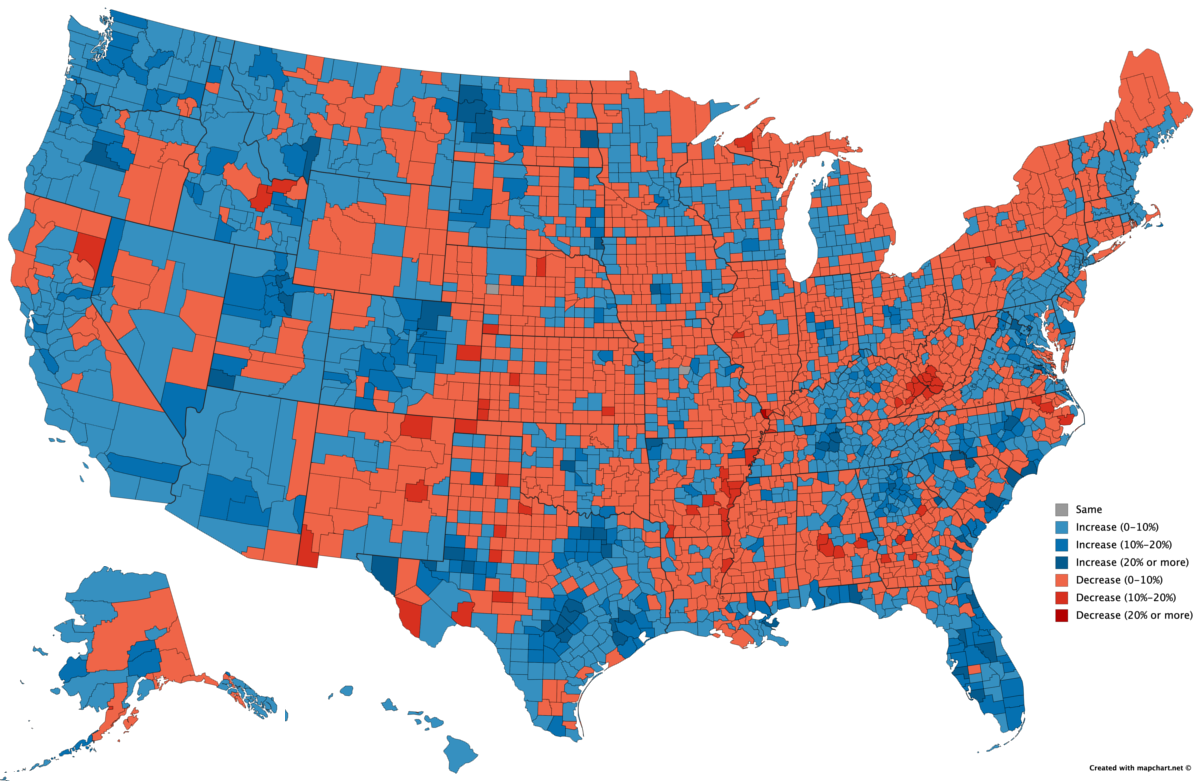 Us Population By County Map Growth and Decline: Visualizing U.S. Population Change by County