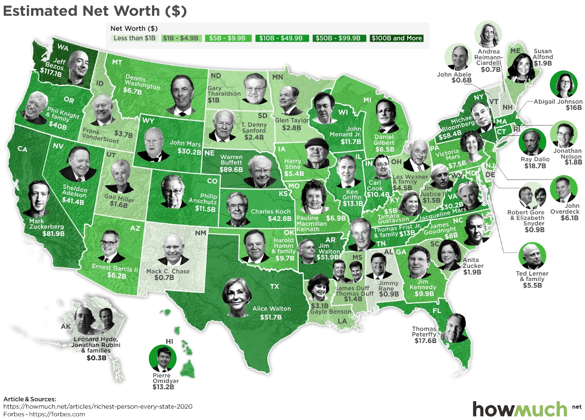 The Wealthiest Person in Every U.S. State in 2020