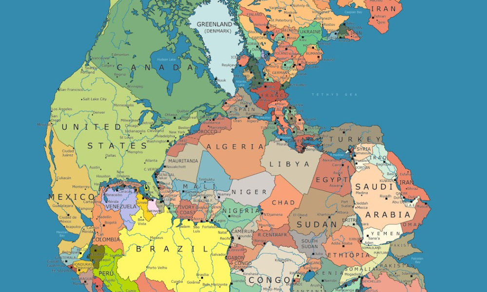 map of all continents together Incredible Map Of Pangea With Modern Day Borders map of all continents together