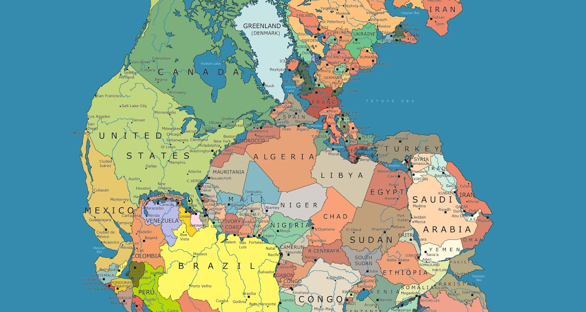Image of: Incredible Map Of Pangea With Modern Day Borders