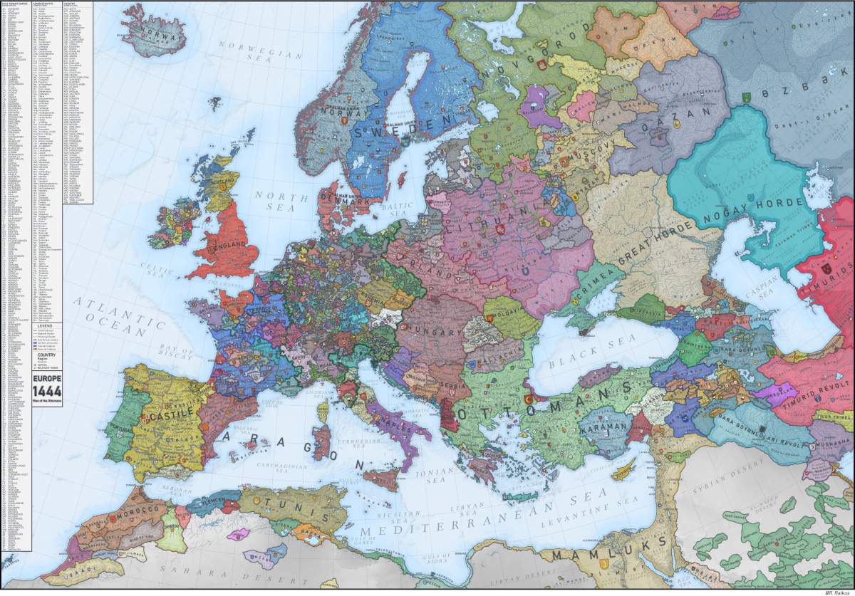 Medieval Europe in 1444 map