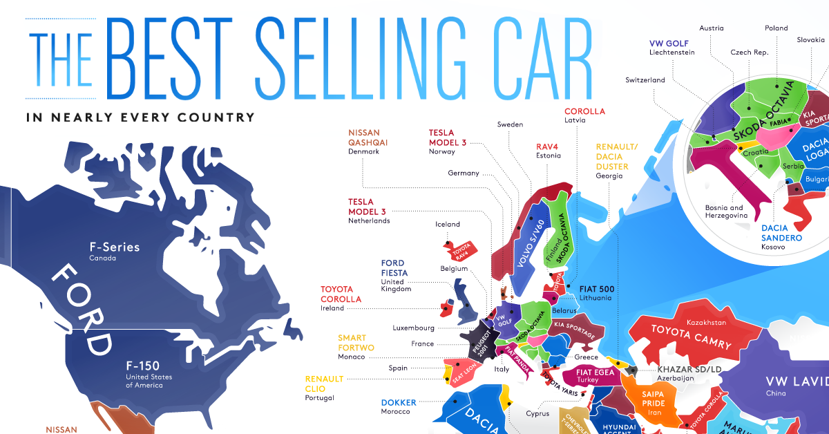 Map Best-Selling Vehicles in the World Share