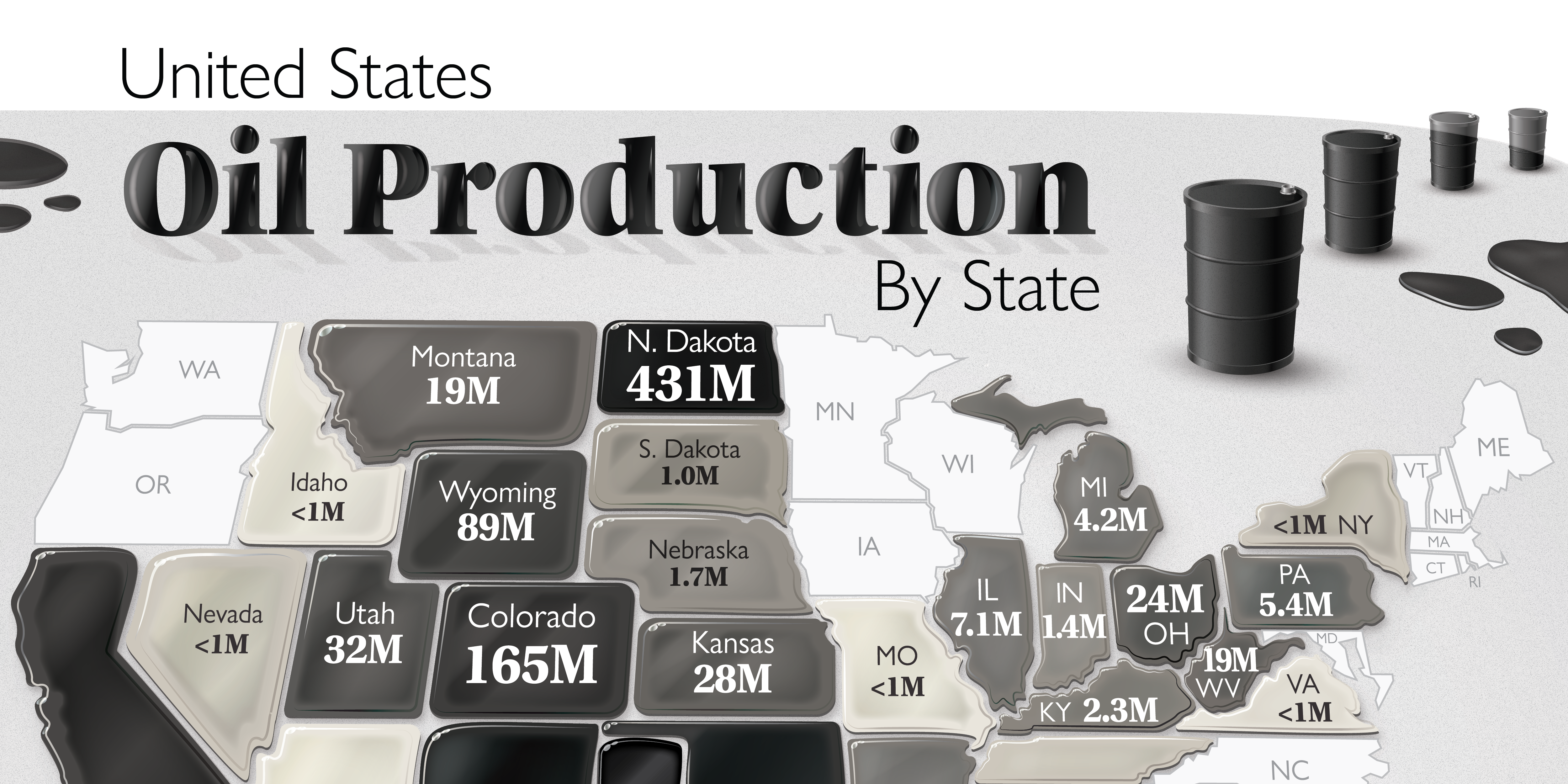 Map of U.S. Oil Production by State