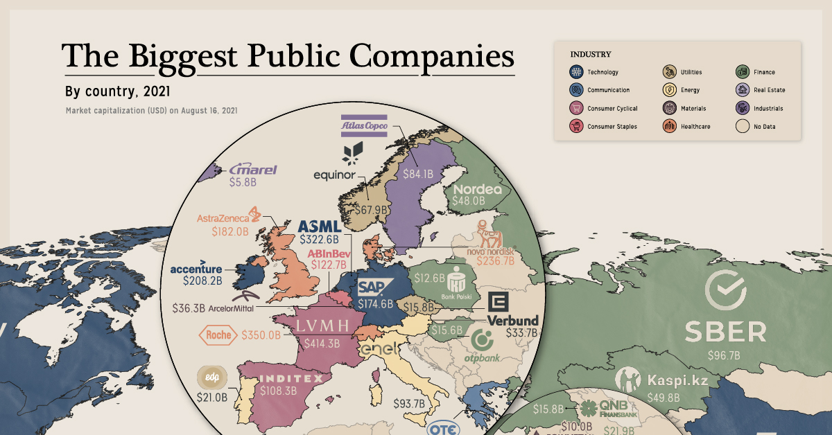 Mapping The Biggest Companies By Market Cap in 60 Countries Share