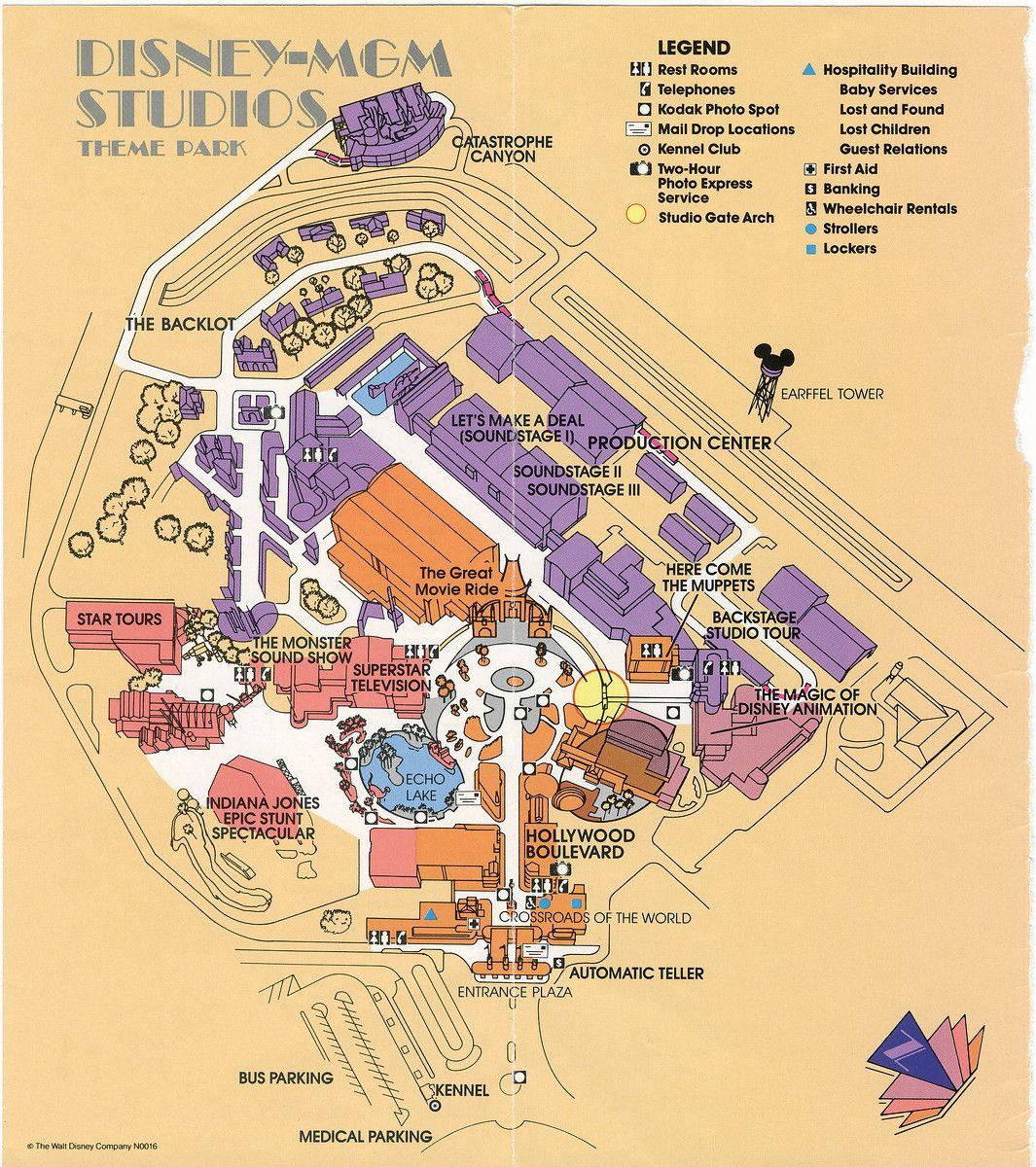walt disney world hollywood studios map 1990